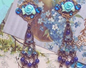 Enigmatic Midnight Blue Jeweled Chandelier Earrings - Hand-Sculpted - Swarovski & Czech Crystal