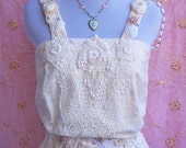 Dove Bird Poetry Couture Embroidery with Sash -  Blouse - Sz. Small