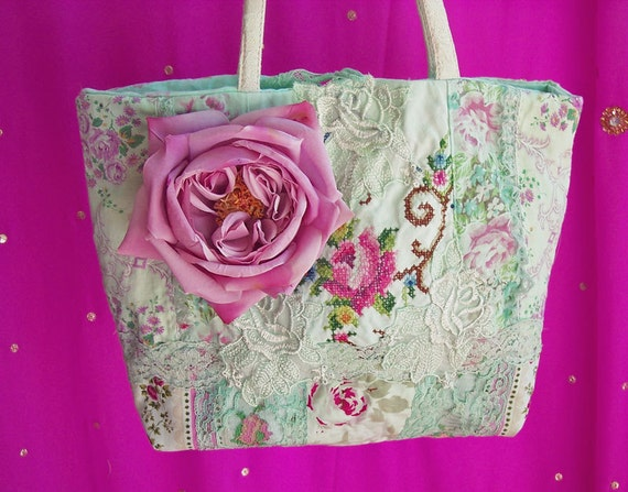 Vintage embroidered rose purse millinery by