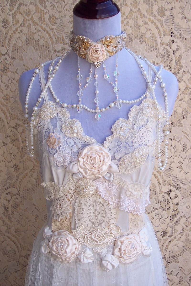 French vintage lingerie wedding gown italian by roselanijasmin for What undergarments for wedding dress shopping