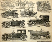French Automobile, Antique French Lithographed Page