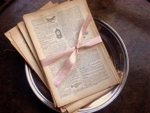 Set of Antique French Dictionary Pages