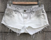 SALE 40% OFF - Grey and White Studded Denim Shorts