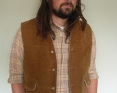 SALE Vintage Western Westwind Vest Sherpa Lined Mens Size Large Snap Buttons