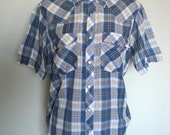 VINTAGE  Western Youngbloods Short Sleeve Mens Pearl Snap Button up size Medium