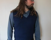 Vintage Mens late 60s or 70s style Navy Vest Excellent Condition Medium or Slim Fit Large