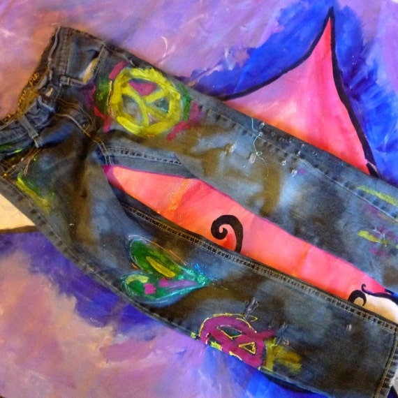Girls Peace Love Hope Painted Jeans 10 Slim Distressed Colored