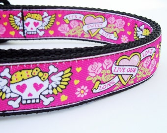 The Beotch - Dog Collar / Pet Accessories / Handmade / Adjustable / Tattoo / Pink