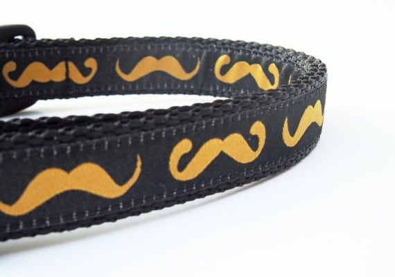 The Stout Hipster - Mustache Dog Collar / Pet Accessories / Handmade / Adjustable / Handlebar Mustache