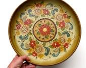Norwegian Rosemaling Painted Wood Tray or Bowl .. a vintage treasure ..