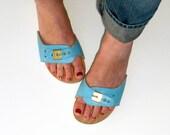 Vintage Dr Scholls Sandal Aqua Leather size 9 Euro 39 to 40