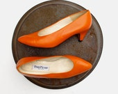 80s 90s Vintage Evan Picone Pumps 9 N Orange Leather EUR 39 40