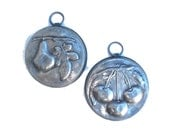 Vintage Pewter Fruit Wall Hangers Cherries and Pears 4 inches