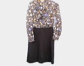 60s Vintage Cover Girl Miami Knit Dress, Purple Brown Polka Dots size Small to Medium