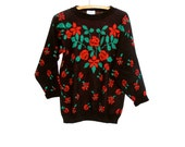 Christmas Sweater Tunic Red Roses GFC Acrylic Womens small to medium