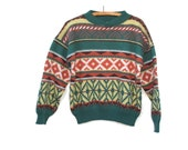 80s Vintage Wool Sweater Navajo Style Wool Blend Matinique Mens S