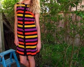 60s Vintage Ruth Norman for Gay Gibson Striped Mini Dress Medium BOLD Colors