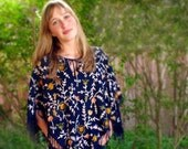 Embroidered Wool Poncho .. so boho .. Navy Blue Abstract Floral .. one size fits most ..