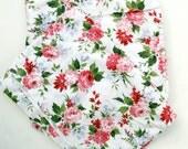 Vintage Waverly Fabric, vintage Decorator Fabric, Cotton Yardage Pink Red Roses 50s Decorator Fabric