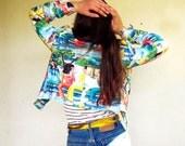 90s Vintage Alberto Makali Cropped Jacket Bright Bold Tahitian Print