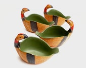 Mid Century Modern Raymor Pottery Italy set of FOUR Quail Bird Dishes