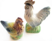 40s HEN and ROOSTER Salt and Pepper Shakers Vintage 1940s Japan