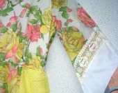 70s Vintage Hippie Prom Maxi Dress Gauzy Patchwork Coral Roses, Yellow Polka Dots Cluney Lace Kerchief Hem Bell Sleeves Crinoline size 8