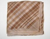 Vintage Vera Neumann Scarf,  21 inch Chiffon Scarf Vera, Brown Tan Fashion Scarf
