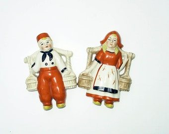 50s Dutch Vintage Porcelain Wall Hangers Occupied Japan