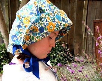 Farm Hat Floral Bonnet Mid Century Homemade