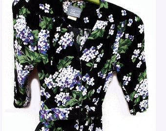 Purple Violets 1970s Carol Anderson Rayon Dress size 4 Petites