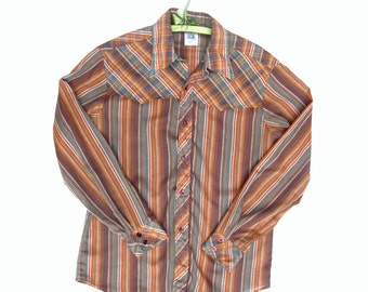 80s Kennington Guys Western Shirt Stripes and Plaid no-iron Large