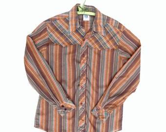 80s Kennington Guys Western Shirt Stripes and Plaid no-iron Large