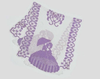 Vintage Table Runner Southern Belle with Umbrella Purple and White Cotton 48 in. by 25 in.