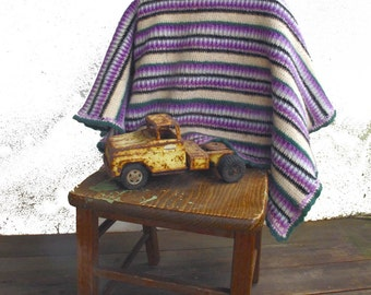 Vintage Blanket Lambswool Afghan, Thick Felted Wool Lap Blanket, Purple Green Ivory Stripes