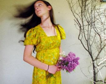 Vintage Boho Maxi Dress Small Bright Yellow Silk Print, 70s Silk Dress, Sunny Mustard Aqua Orange fully lined size S M