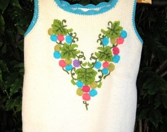 60s Vintage Campus Casuals Sweater Vest Crewel Embroidery
