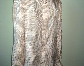 80s Vintage Secretarial Blouse Stanley Sherman Silk .. Ruffles  .. Beige Plaid size 4 36 Bust