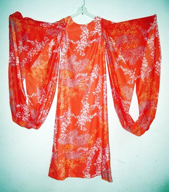 70s Vintage Elsie Krassas Maxi Dress vintage size 10, Orange Tropical Flower Butterfly Goddess Gown Floor Length, Hawaiian Wedding Dress