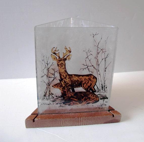Vintage Woodland Deer Votive, Cabin Decor Candle Holder