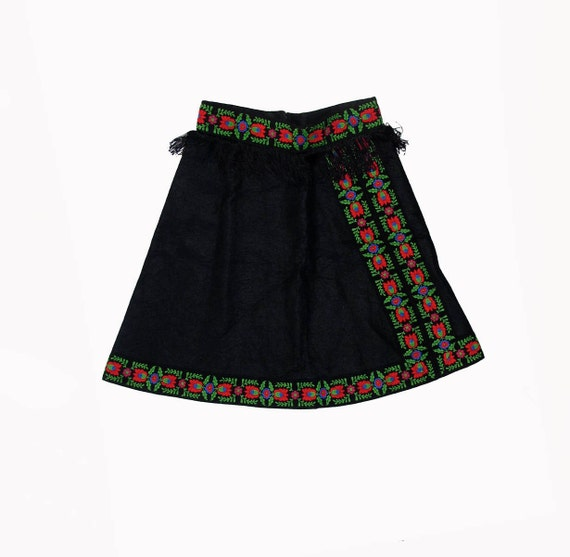 60s Ethnic Costume Embroidered Ribbon Skirt size XS S has 25 inch waist