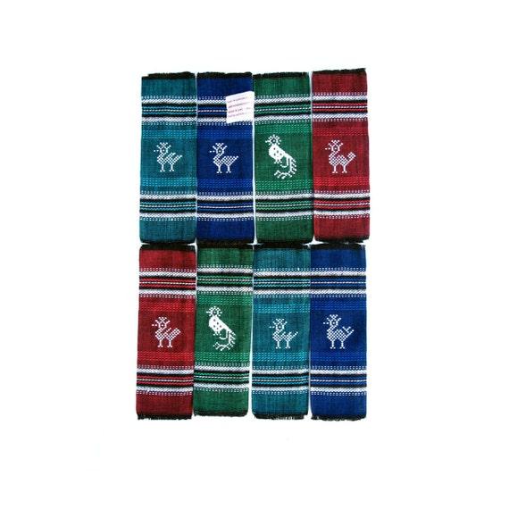Vintage Bar Napkins Sombol Guatemala, set of 8 NOS in package Woven Cotton Birds Hostess Gift