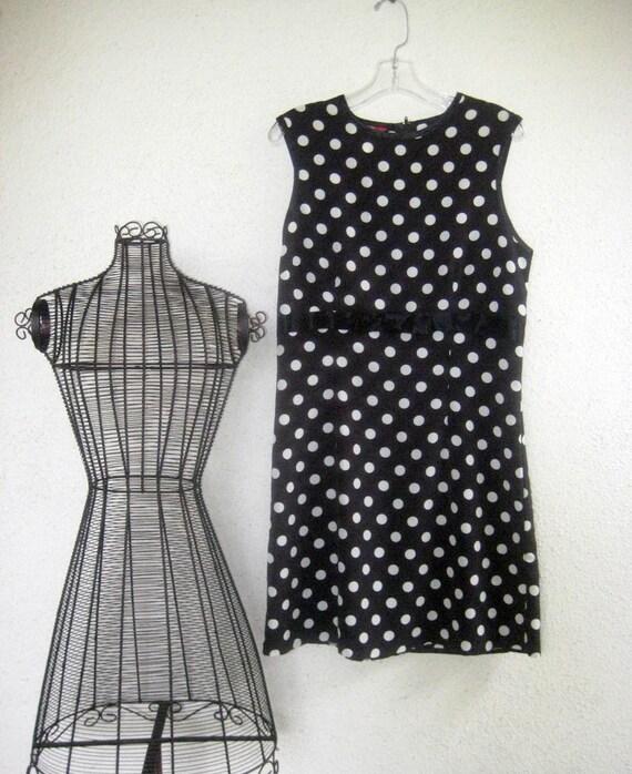 Vintage Esprit Shift Dress Black and White Juniors L  Wmns XS  34 inch Bust