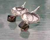 Sterling Silver Earrings with Unique Hand Stamped Metal Disc and Smokey Quartz Bead Drop