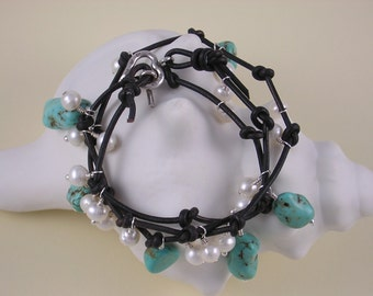 Leather and Turquoise Wrap Style Bracelet