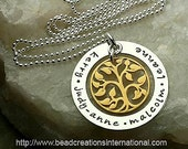 Our Family Tree of Five in Silver and Gold Hand Stamped Necklace