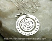 Floating I Love You To The Moon and Back with 3 Names Hand Stamped Necklace