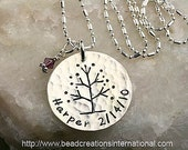 Tree of Life with One Name and One Birthdate Hand Stamped Necklace