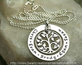 Our Family Tree of Five Hand Stamped Necklace