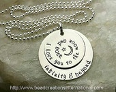 I Love You To The Moon And Back Infinity and Beyond Hand Stamped Necklace